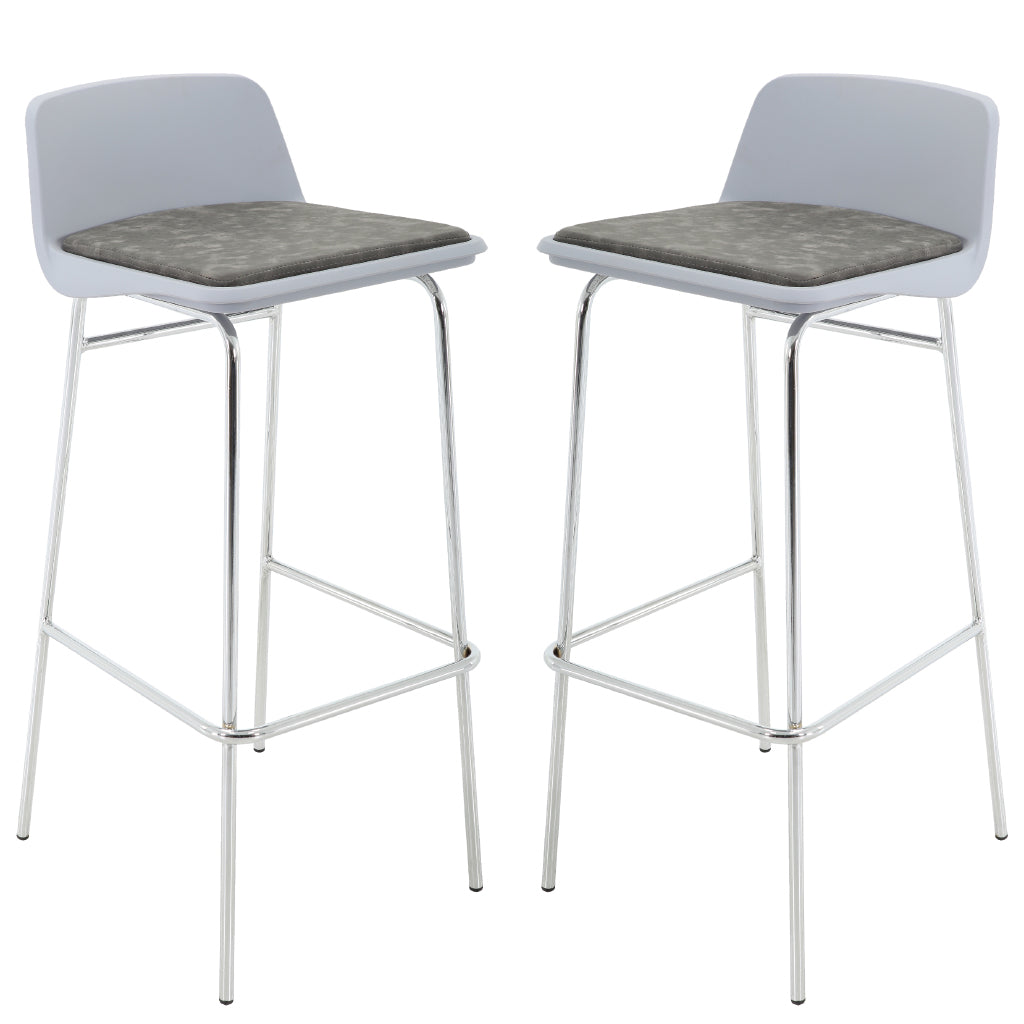 BR1991007-2-Low Back PP Seat Bar Stool Set With PU Leather Cushioned (Set of 2)