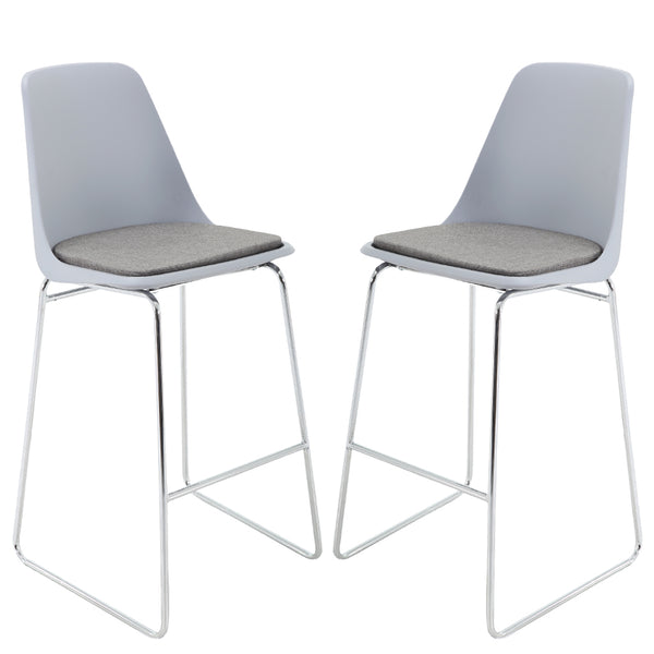 BR1991008-2-Mid Back PP Seat Bar Stool Set With PU Leather Cushioned - Grey (Set of 2)