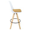 BR1991009-2-Mid Back PP Seat Wooden Legs Bar Stool Set With PU Leather Cushioned - White (Set of 2)