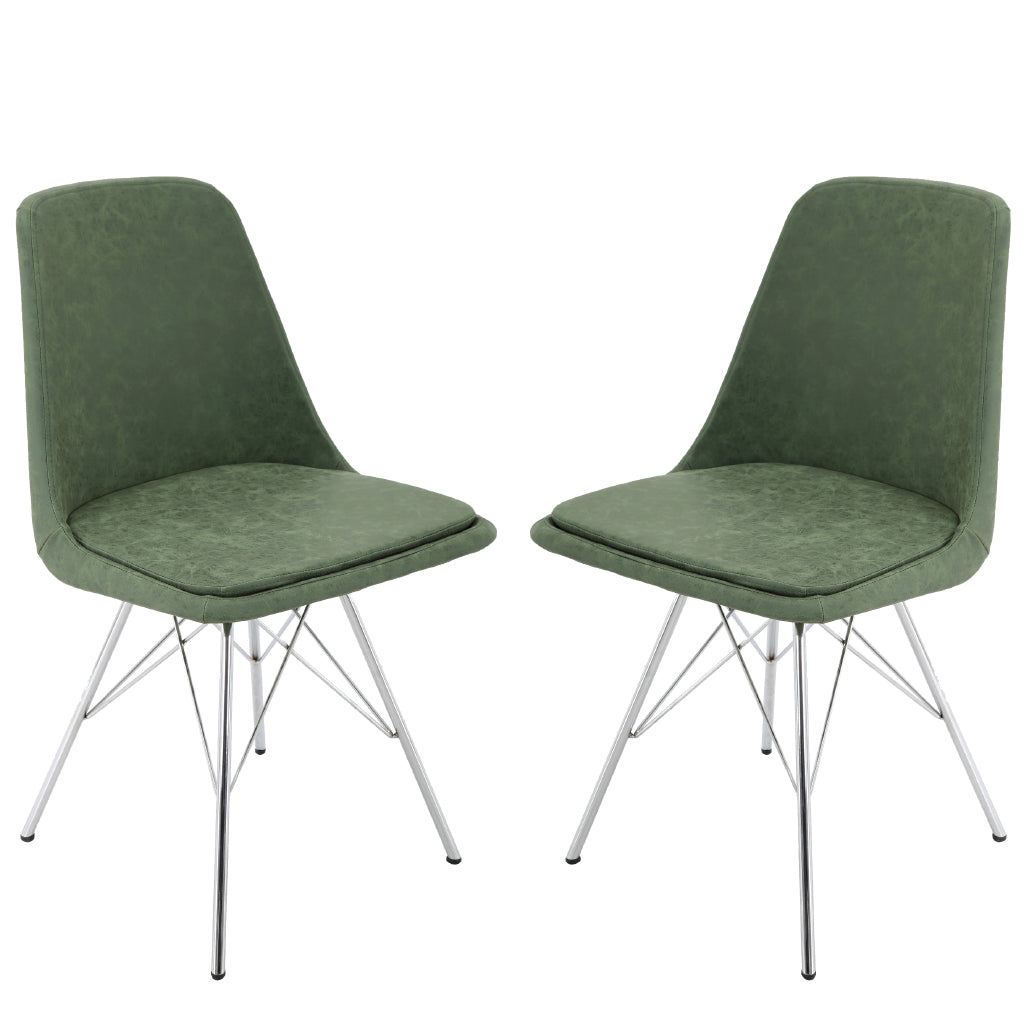 BR1991010-2-Chrome Legs Mid Back Dining Chair (Set of 2)