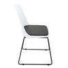 BR1991015-Mid Back PP Chair With PU Leather Cushioned - White