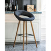 VF1681005-Contemporary Fabric Seating Bar Stools with Wooden Legs (Dark Grey)