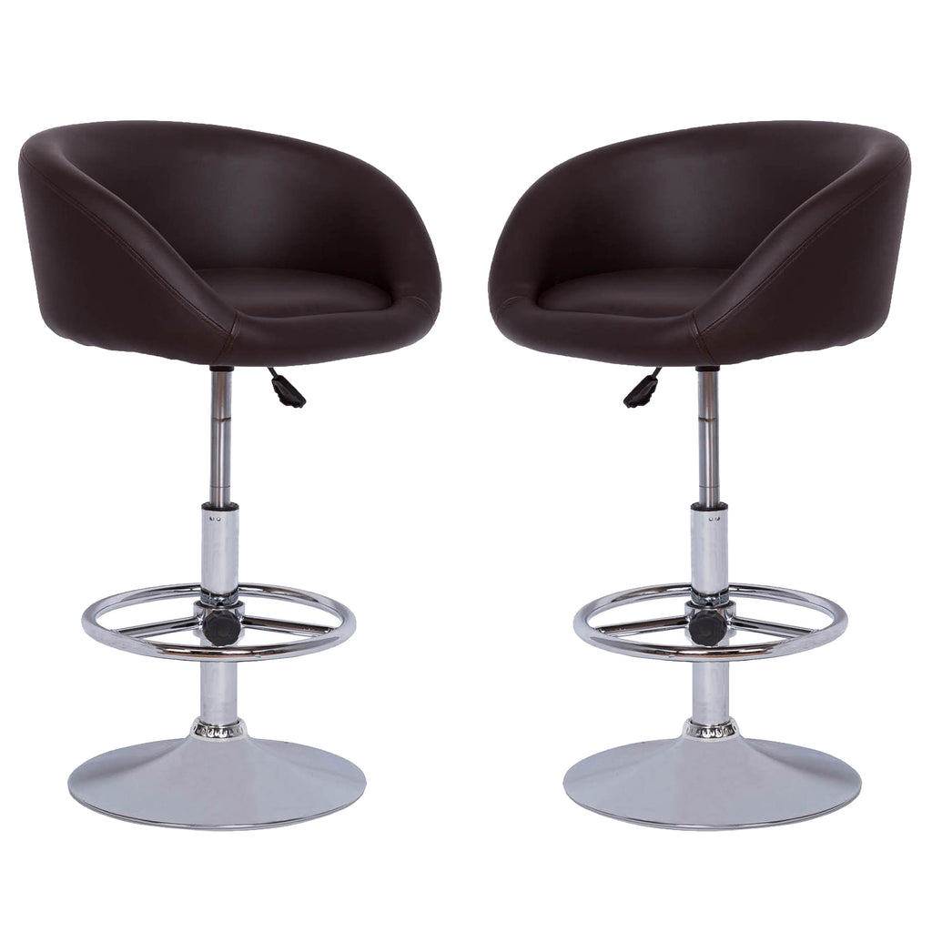 VF1581010-2-Bucket Seat Height Adjustable Bar Stools (Chocolate) (Set of 2)