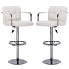 Brage Living Maela Adjustable Height Swivel Barstools with Armrest and Footrest, Set of 2