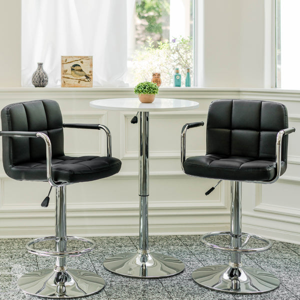 VF1581021-2-Adjustable Height Swivel Bar Stool with Armrest and Footrest (Set of 2)