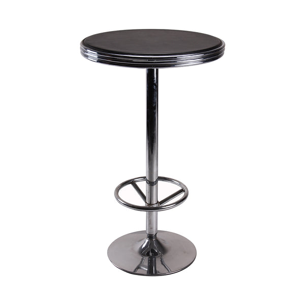 VF1581022- Vintage Height Adjustable Round Bar Table with Footrest (Black)