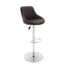 VF1581029-Height Adjustable Quilted PU-Leather Bar Stool with Footrest (Set of 2)