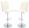 VF1581031-Height Adjustable Faux Leather Bar Stool (White) (Set of 2)