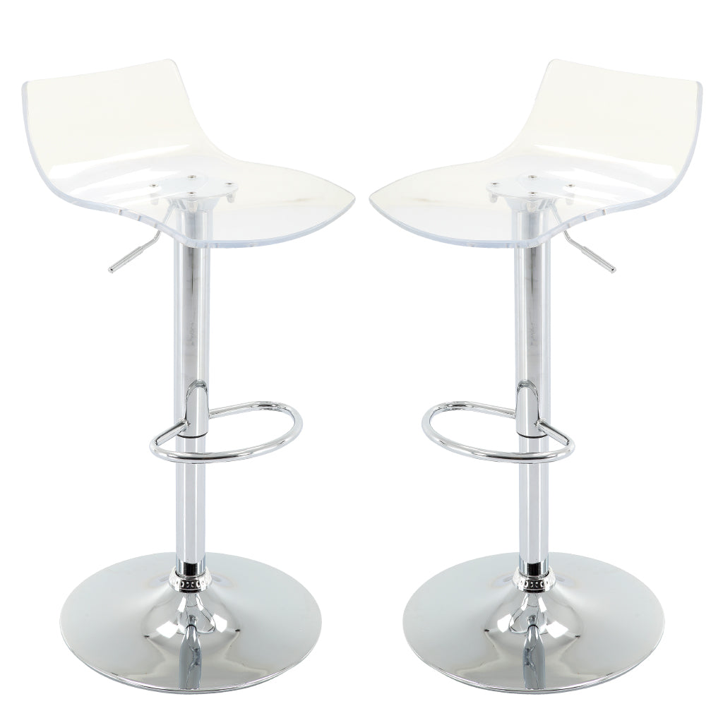 Picture of: Adjustable Height Acrylic Bar Stools With Footrest Brage Living