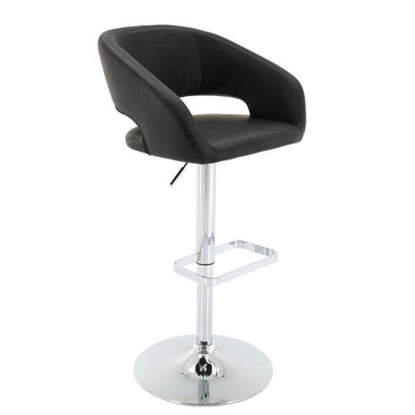 VF1581035-Adjustable Height PU-Leather Bar Stool with Chrome Base and Footrest