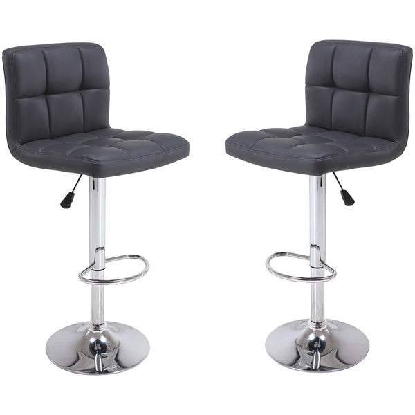 VF1581047-2-Adjustable Height Quilted Faux-Leather Bar Stools (Black) (Set of 2)