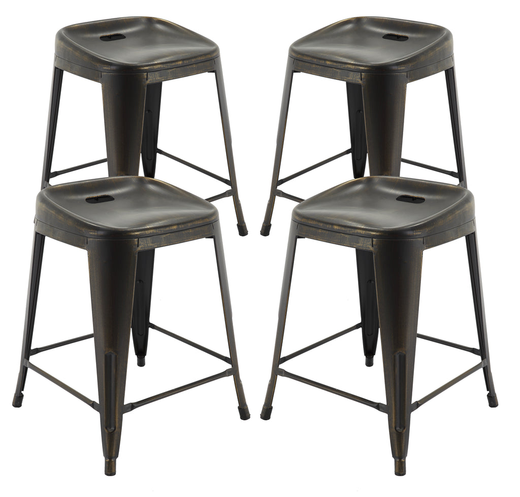"VF1671014-24"" Backless Metal Bar Stools in (Antique Black/Gold) (Fully Assembled) (Set of 4)"
