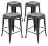 "VF1671016-24"" Backless Metal Bar Stools in (Antique Black/Gold) (Fully Assembled) (Set of 4)"