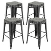 "VF1671018-24"" Backless Metal Bar Stools in Antique (Black/Gold) (Fully Assembled) (Set of 4)"