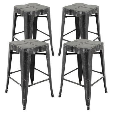 Super Vf1671018 24 Backless Metal Bar Stools In Antique Black Gold Fully Assembled Set Of 4 Ibusinesslaw Wood Chair Design Ideas Ibusinesslaworg