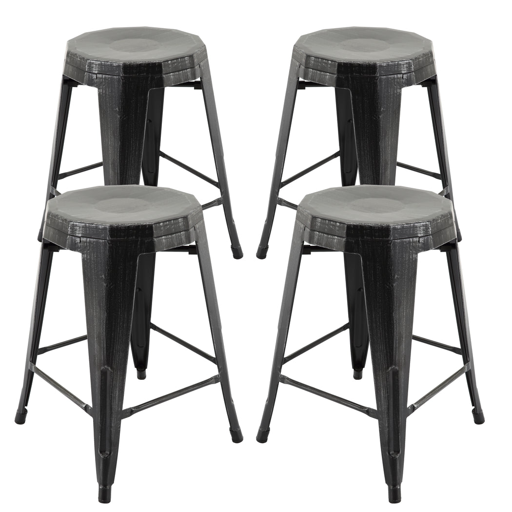 Amazing Vf1671022 24 Backless Metal Bar Stools In Antique Black Gold Fully Assembled Set Of 4 Ibusinesslaw Wood Chair Design Ideas Ibusinesslaworg