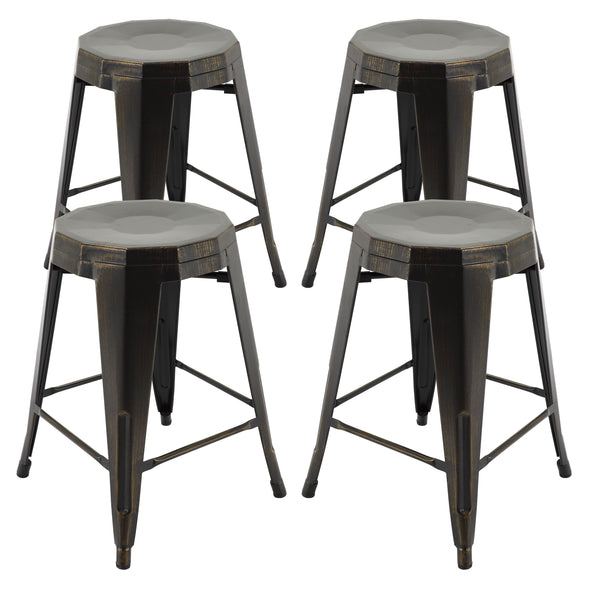 "VF1671022-24"" Backless Metal Bar Stools in (Antique Black/Gold) (Fully Assembled) (Set of 4)"