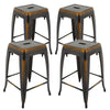 "VF1671023-24"" Backless Metal Bar Stools in (Antique Black/Silver) (Fully Assembled) (Set of 4)"