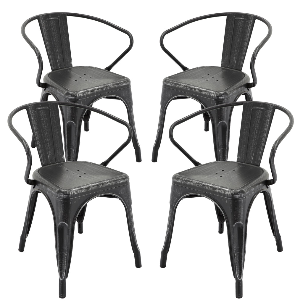 "VF1671026-18"" Metals Seat With Back in (Antique Black/Gold) (Fully Assembled) (Set of 4)"