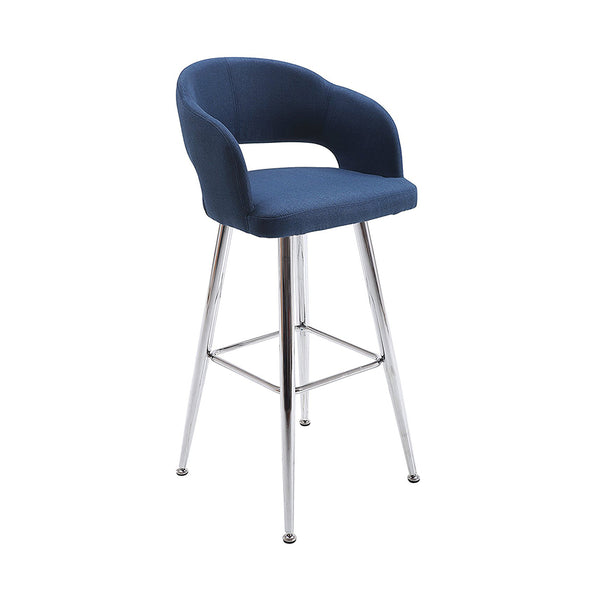 VF1681001-Contemporary Fabric Bar Stools with Footrest (Blue)