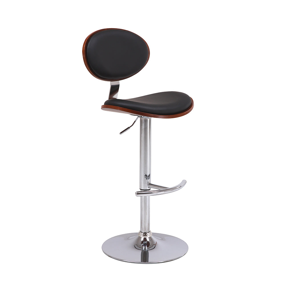 VF1681004-Adjustable Height Wooden Frame Faux-Leather Bar Stools (Black)
