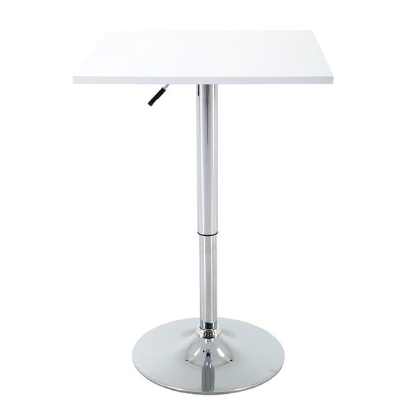 VF1891001-Contemporary Height Adjustable Square Swivel Bar Table (White)