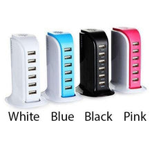 Load image into Gallery viewer, Smart Power 6 USB Colorful Tower for Every Desk at Home or Office charge any Gadget