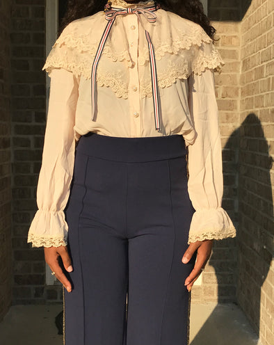 Beige Bow Tie Detail Blouse