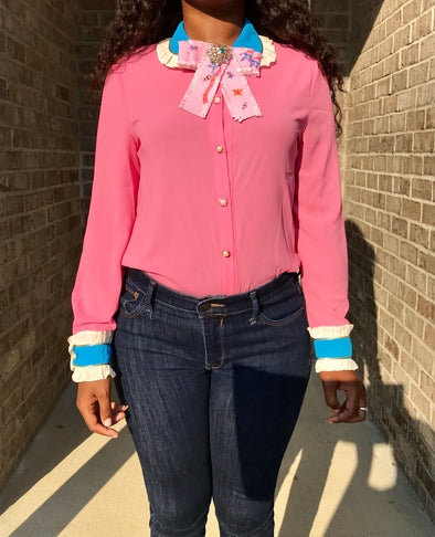 Pink and Turquoise Bow Tie Blouse