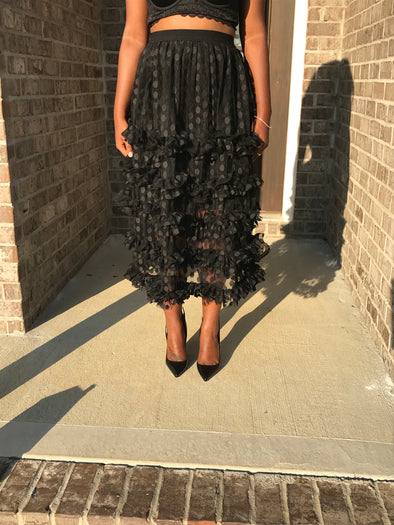 Black Sheer Polka Dot Skirt