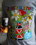 Juicy Brews Flowers and Bottles T-Shirt