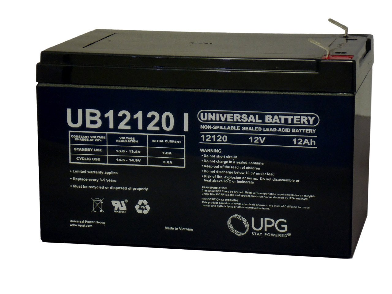 Long WP12-12 - 12 Volt 12 Amp hour SLA Battery