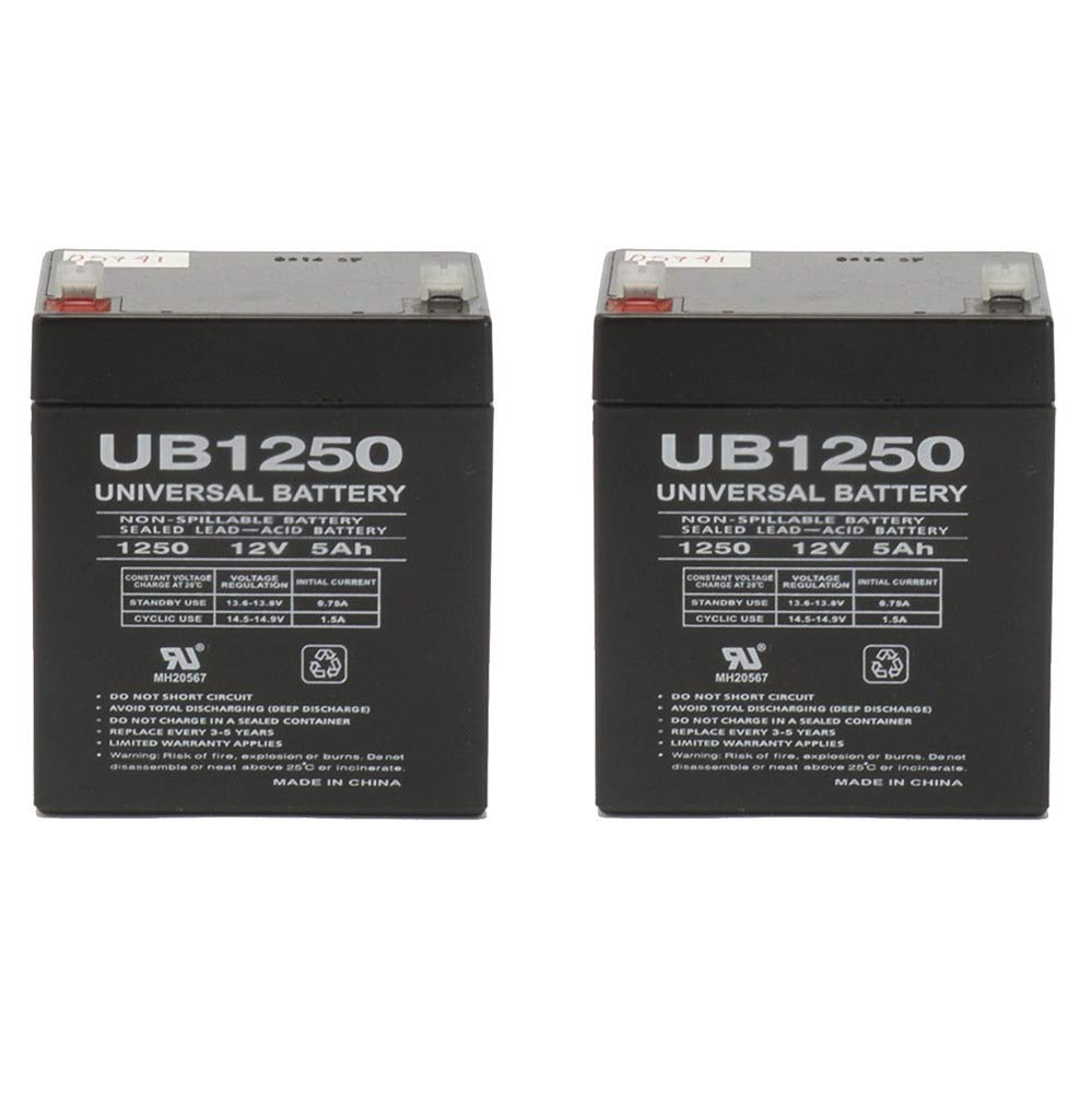 12 volt 5 amp hour sealed lead acid battery 2 pack