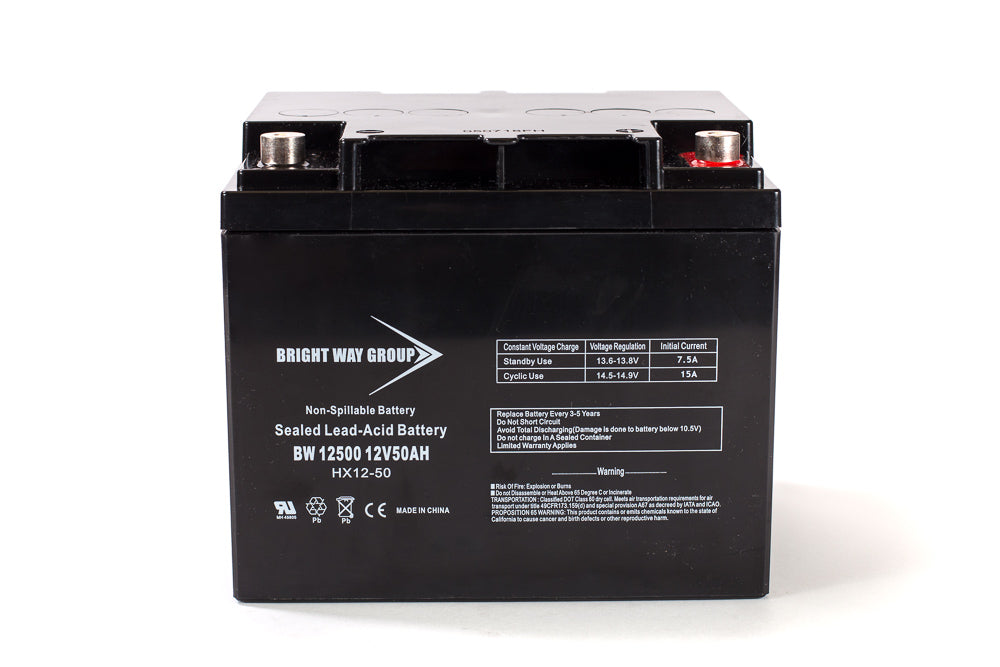 long 12 volt 50 amp hour lead acid battery