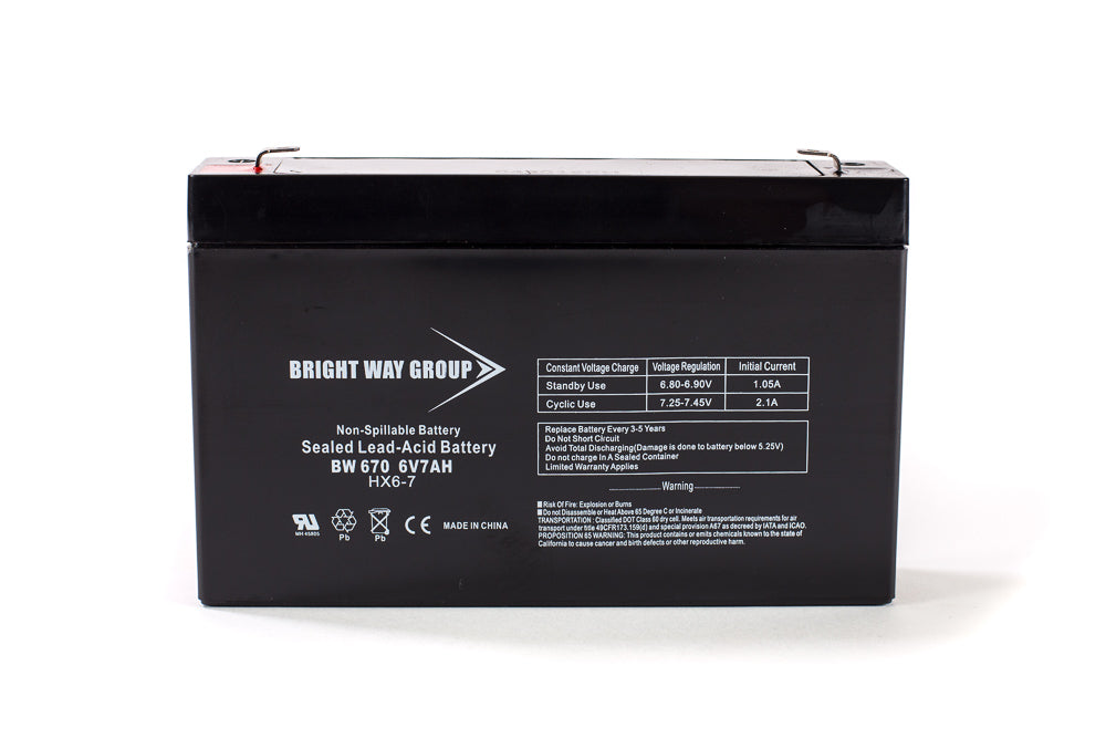 Bright Way Group BW 670 - 6V 7AH SLA Battery