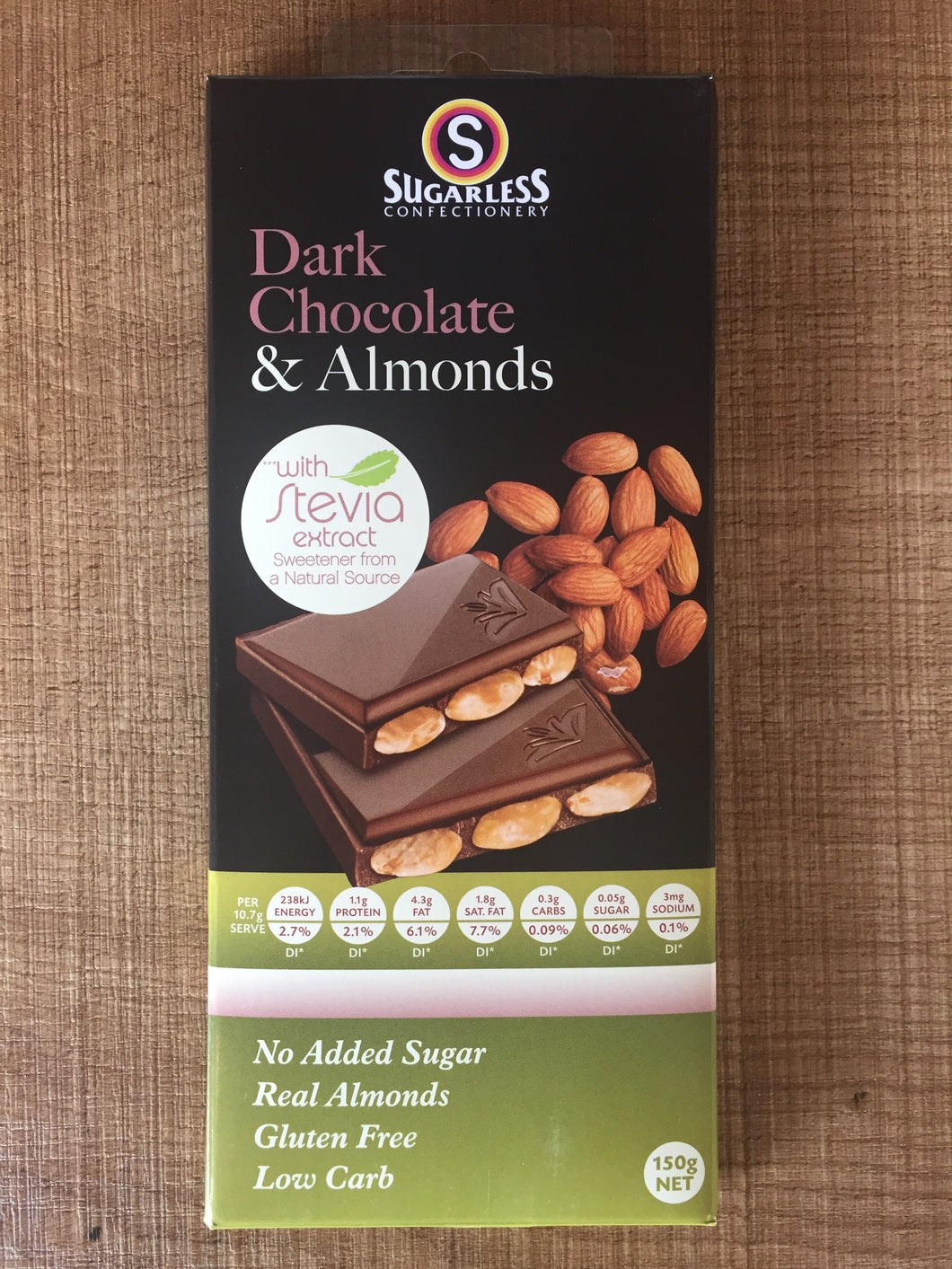 Sugarless Confectionary - Dark Chocolate & Almonds (with stevia)