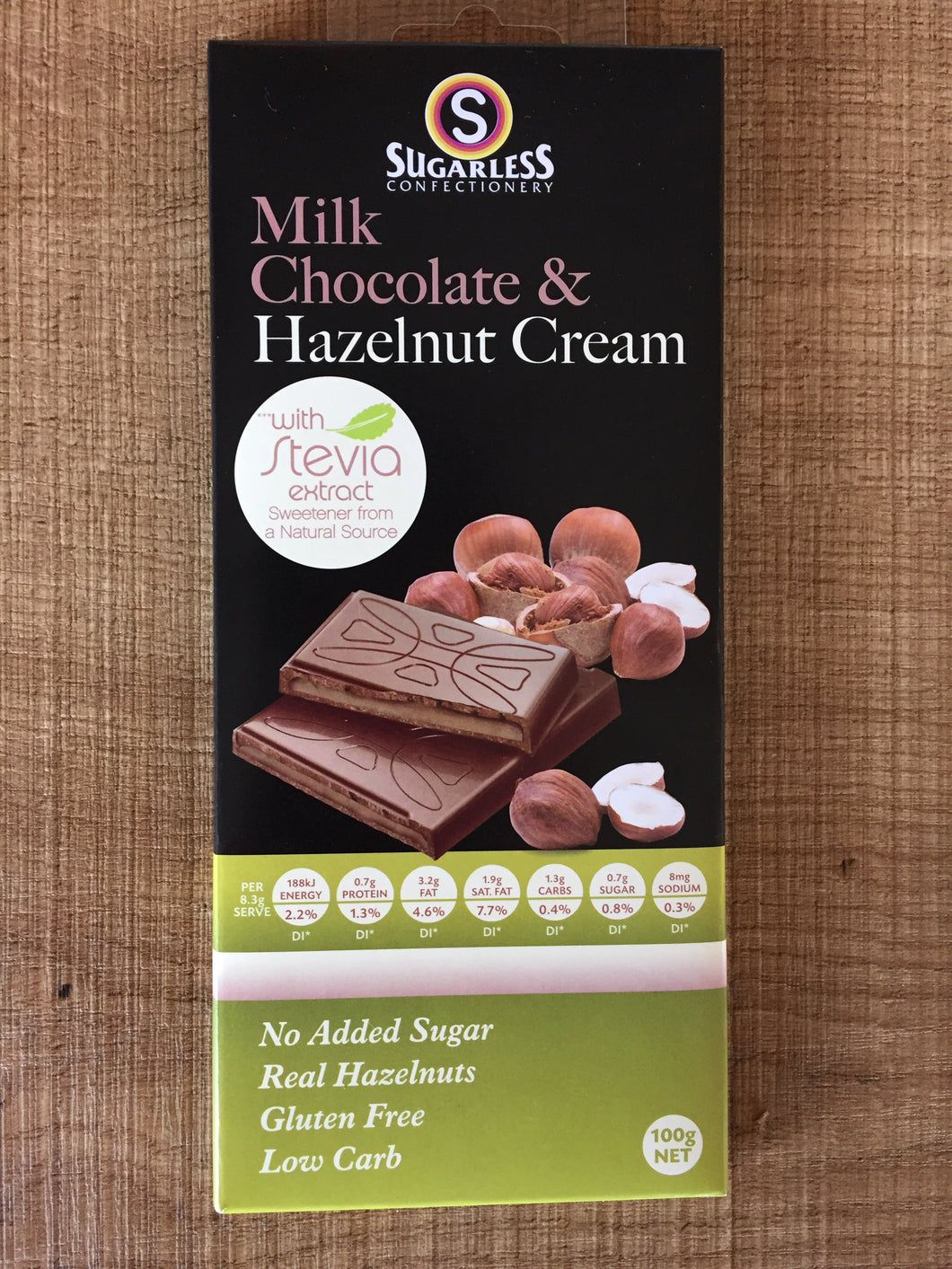 Sugarless Confectionary - Milk Chocolate & Hazelnut Cream (Stevia Range)