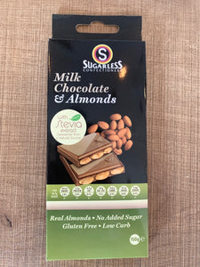 Sugarless Confectionary - Milk Chocolate & Almonds (with stevia)