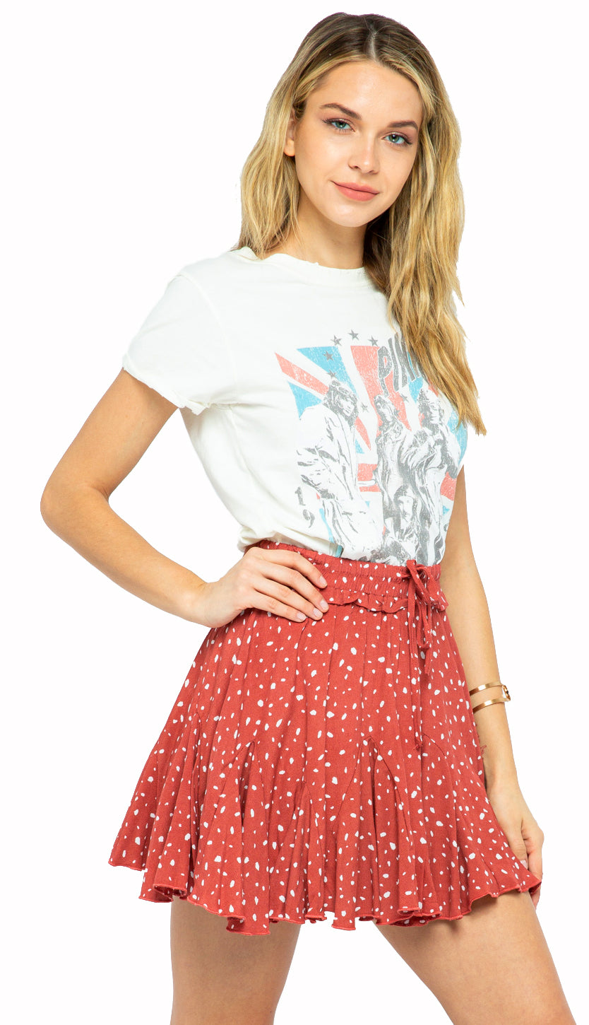 Go With The Flow Skort- Brick/Coral