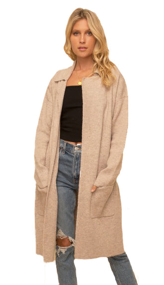 Tailored Collar Long Sweater Cardigan- Taupe