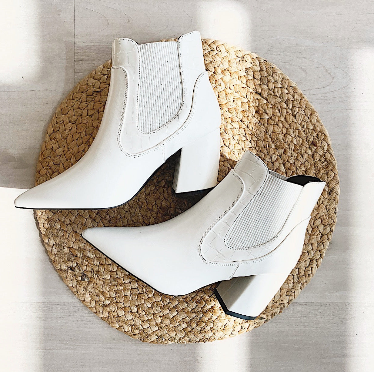 Crocodile Print Elastic Ankle Booties- White