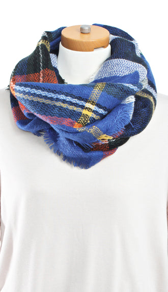 Checker Plaid Infinity- Royal Blue