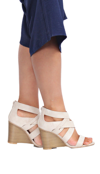Criss Cross Wedges- Beige