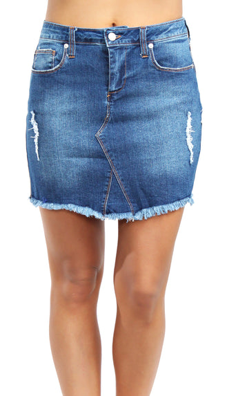 Live A Little Mini Skirt- Denim Blue