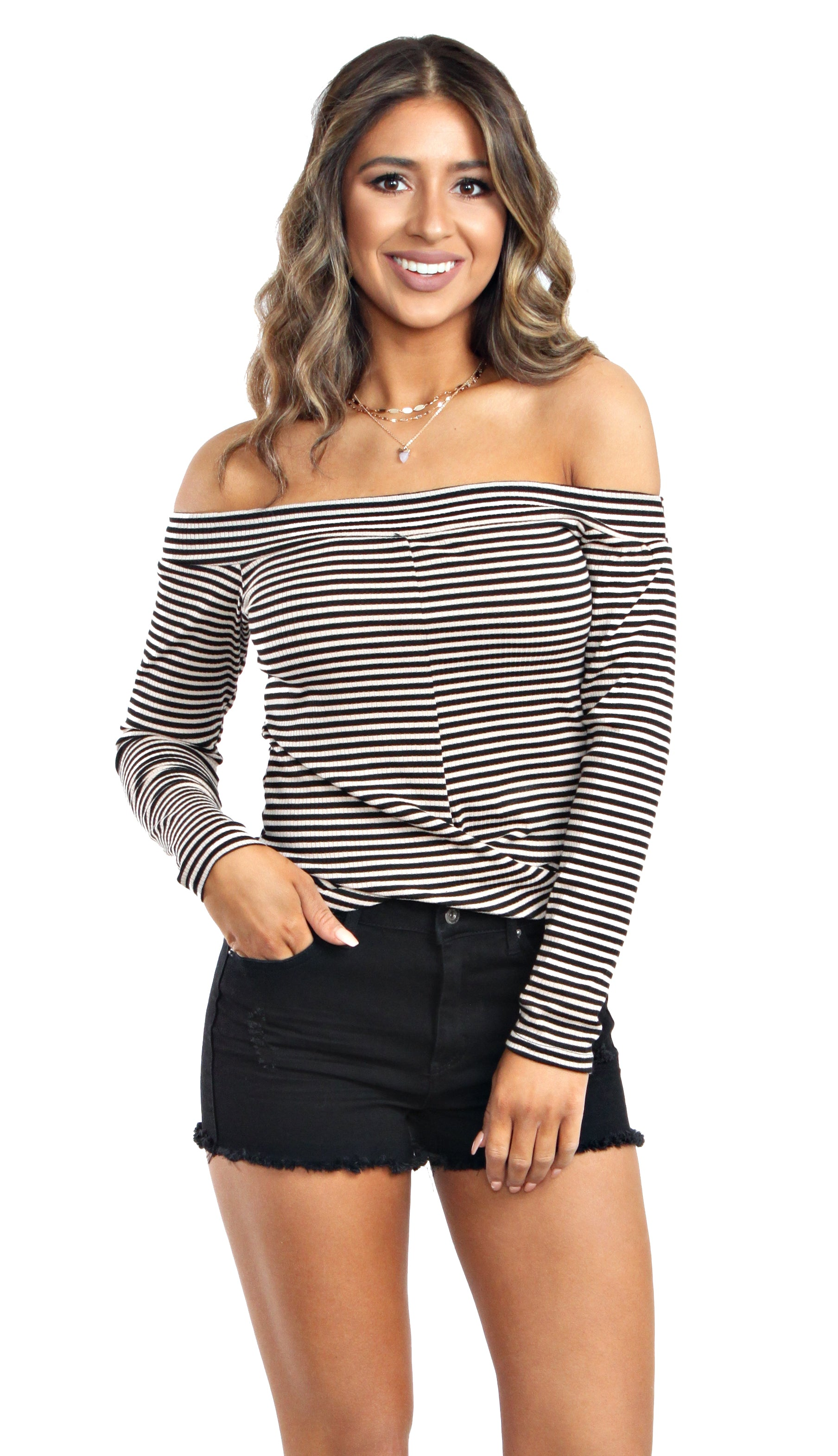 Rib Or Right Top- Black/Khaki