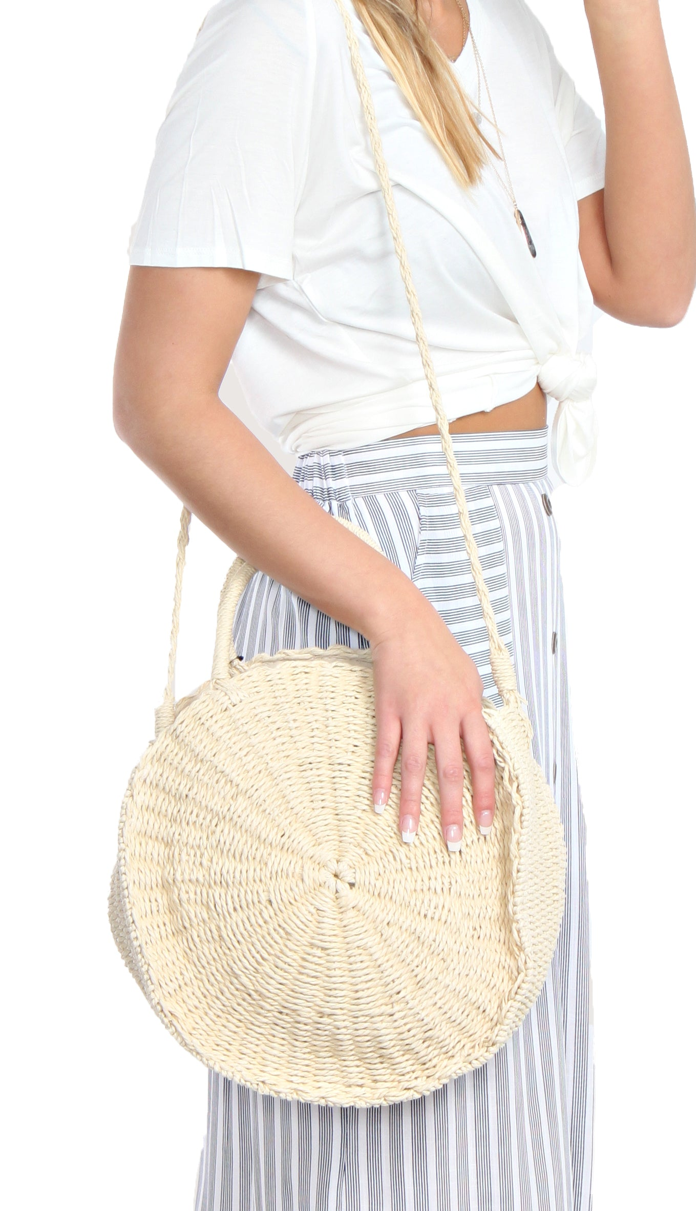 Top Handle Straw Circle Bag- Ivory