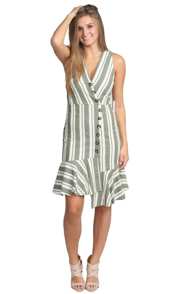 Asymmetrical Button Beauty Dress- Olive