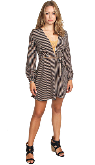 Taking Bets Stripe Dress- Black/Taupe