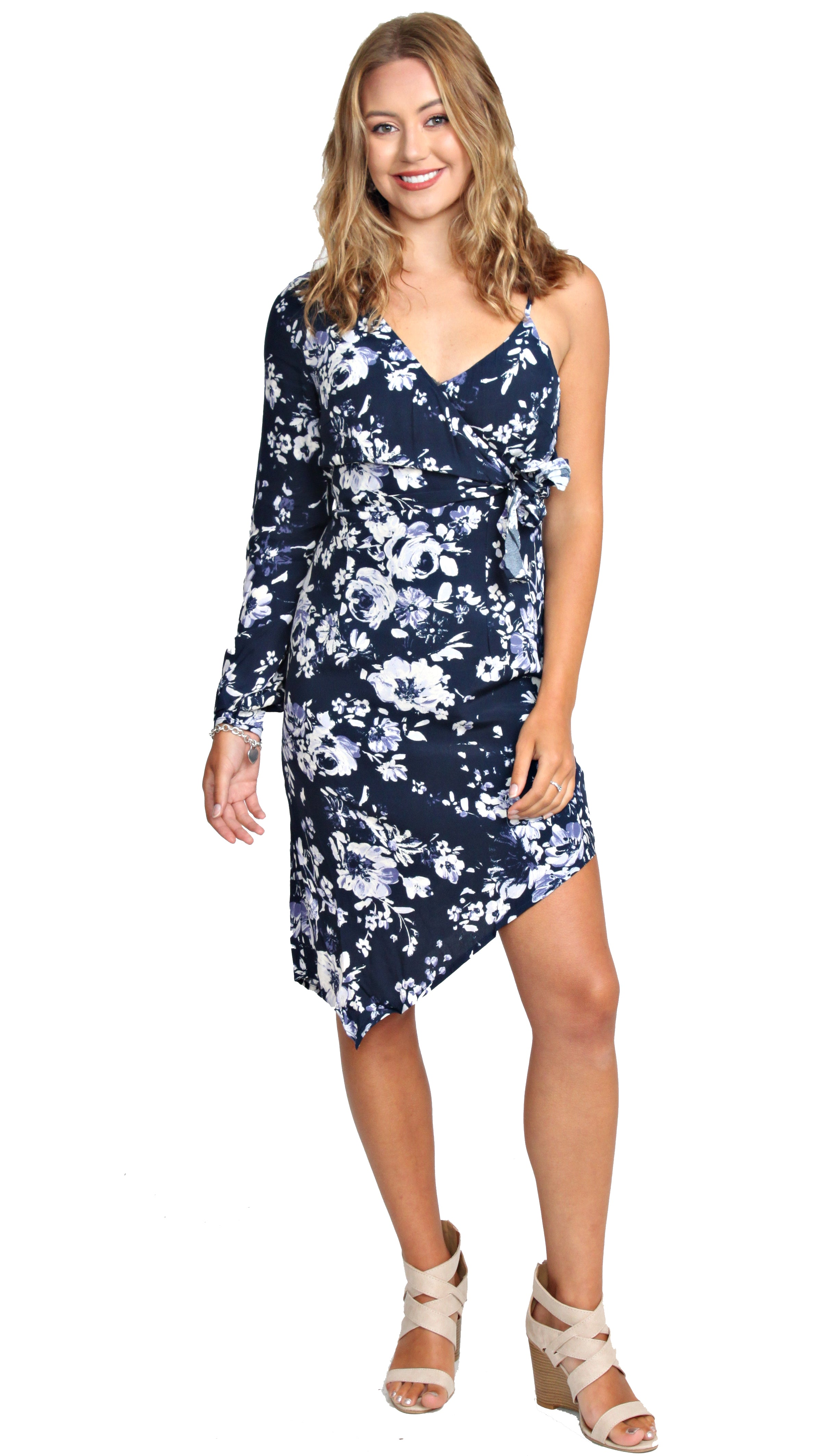 Be The Difference Asymmetrical Dress- Navy