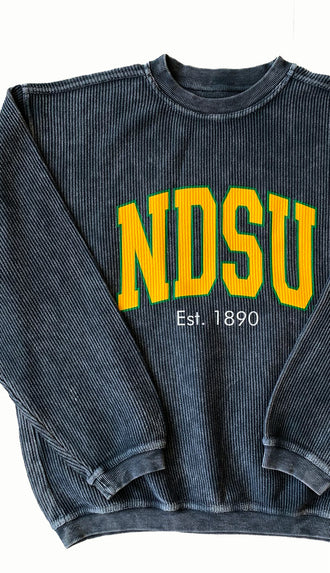 NDSU Washed Corded Crew Sweatshirt- Charcoal